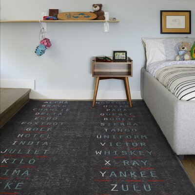 Military Charcoal Area Rug Rug Size: Rectangle 33 x 5