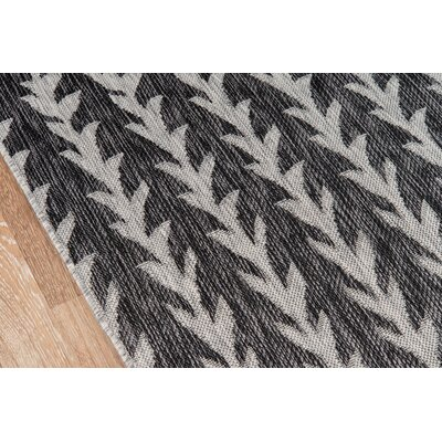 Amalfi Charcoal Indoor/Outdoor Area Rug Rug Size: Rectangle 311 x 57