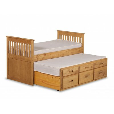 Captains Single Bed Frame with Trundle and Storage Bed Frame Color: Waxed Pine