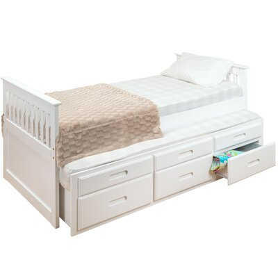 Captains Single Bed Frame with Trundle and Storage Bed Frame Color: White