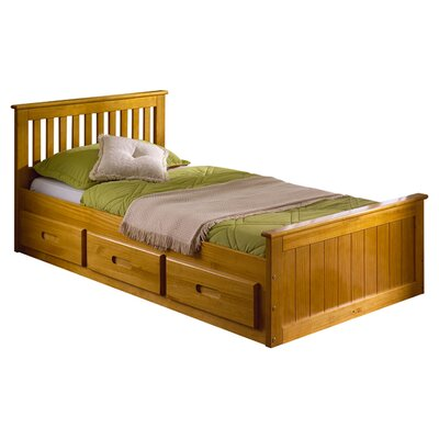 Single Cabin Mates & Captains Bed Frame with Storage Bed Frame Color: Honey