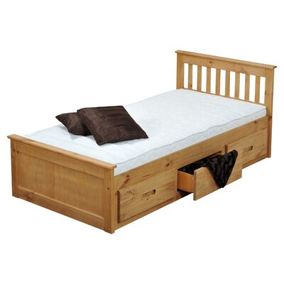 Single Cabin Mates & Captains Bed Frame with Storage Bed Frame Color: Waxed Pine