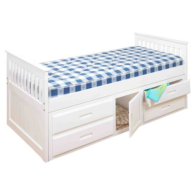 Single Mates & Captains Bed with Storage Bed Frame Color: White
