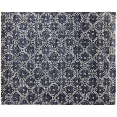 Bellview Hand-Knotted Rectangle Wool Blue Area Rug