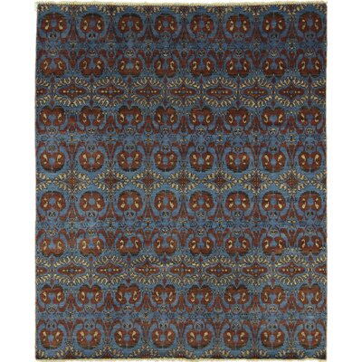 Bellview Oriental Hand-Knotted Rectangle Blue Area Rug
