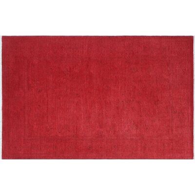 Overdyed Khordad Hand-Knotted Red Area Rug