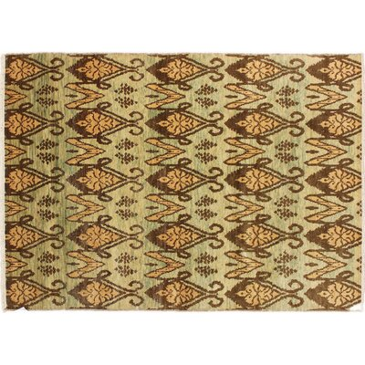 Bellview Hand-Knotted Rectangle Wool Green Area Rug