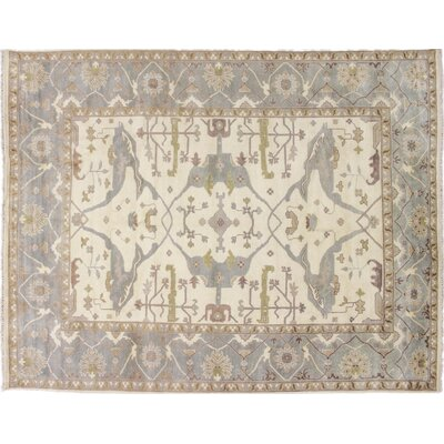 One-of-a-Kind Bellview Hand-Knotted Oriental Wool Ivory Area Rug