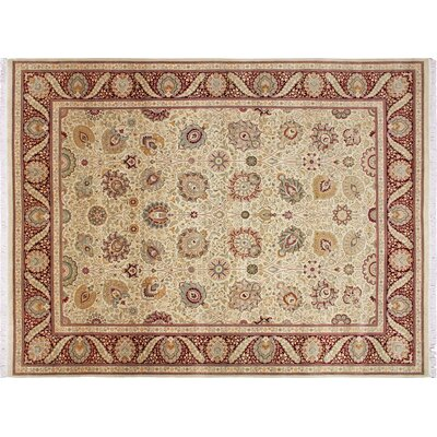 Pak-Persian Nahid Hand Knotted Wool Gold Area Rug Rug Size: Rectangle 91 x 1111
