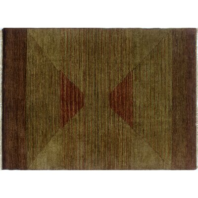 Overdyed Aaryan Hand-Knotted Green Area Rug