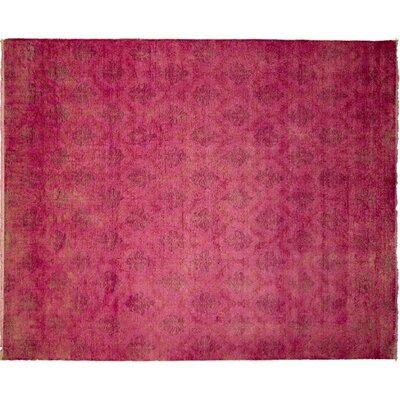 Oushak Overdyed Fine Sanaz Hand-Knotted Pink Area Rug