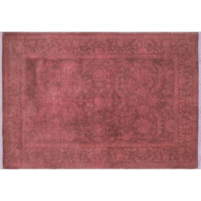 Overdyed Ghafur Hand-Knotted Dark Pink Area Rug