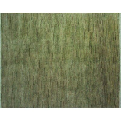 Overdyed Wahhab Hand-Knotted Green Area Rug