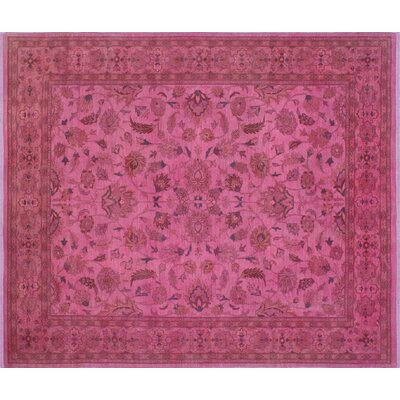 Overdyed Aaus Hand-Knotted Pink Area Rug