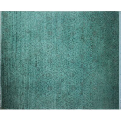 One-of-a-Kind Overdyed Abisali Hand-Knotted Blue/Green Area Rug