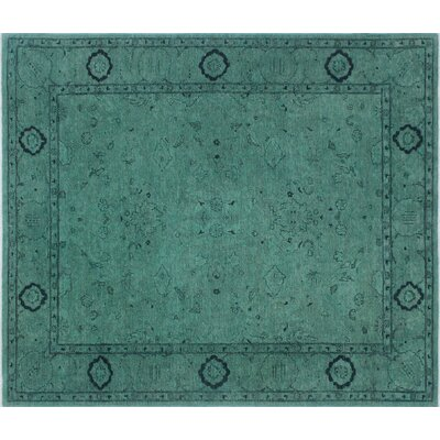 Overdyed Hassan Hand-Knotted Light Green Area Rug
