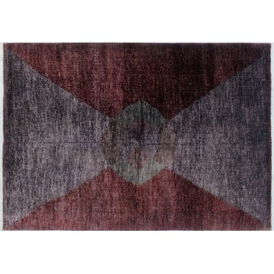 One-of-a-Kind Overdyed Afif Hand-Knotted Purple Area Rug