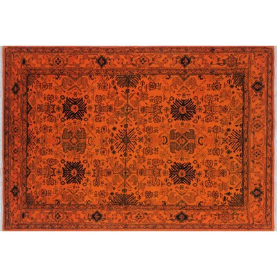 One-of-a-Kind Overdyed Ahura Hand-Knotted Orange Area Rug