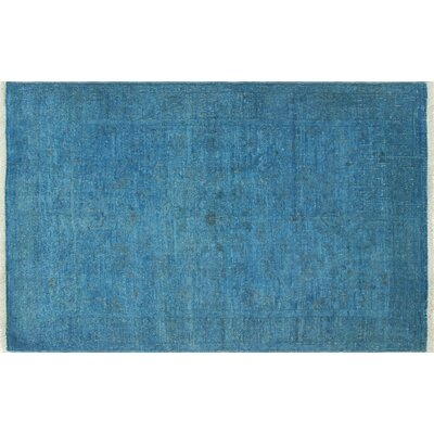 Overdyed Mutalee Hand-Knotted Blue Area Rug