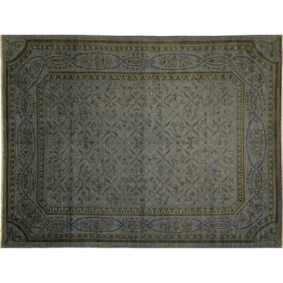 One-of-a-Kind Overdyed Van Hand-Knotted Teal Blue Area Rug