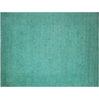 Overdyed Aida Hand-Knotted Teal Green Area Rug