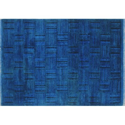 Overdyed Muizz Hand-Knotted Blue Area Rug
