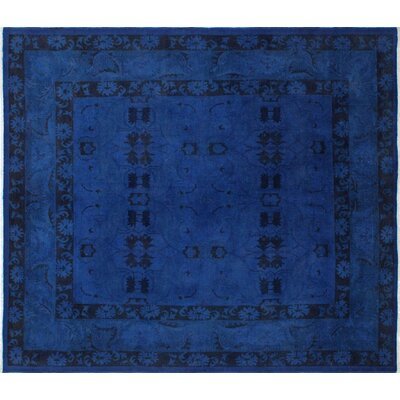 One-of-a-Kind Overdyed Amine Hand-Knotted Ink Blue Area Rug