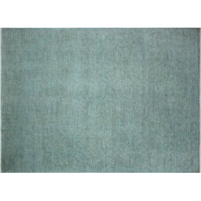One-of-a-Kind Overdyed Dallin Hand-Knotted Teal Blue Area Rug