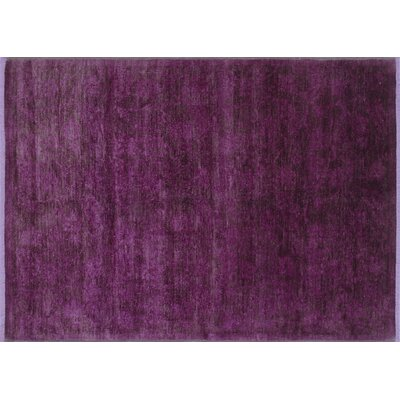 One-of-a-Kind Overdyed Akhas Hand-Knotted Purple Area Rug