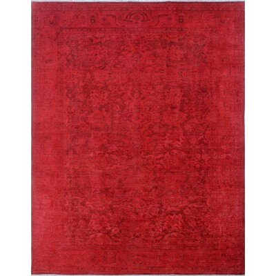Overdyed Ashim Hand-Knotted Red Area Rug