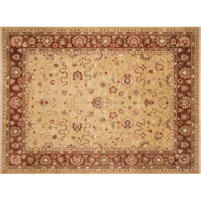 Leann Hand-Knotted Rectangle Gold Indoor Area Rug