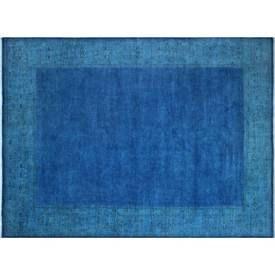 Overdyed Dilobar Hand-Knotted Ink Blue Area Rug