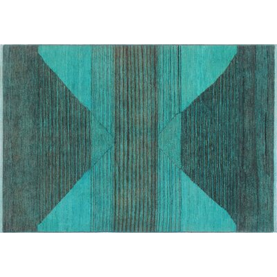 Overdyed Dhahir Hand-Knotted Light Blue Area Rug