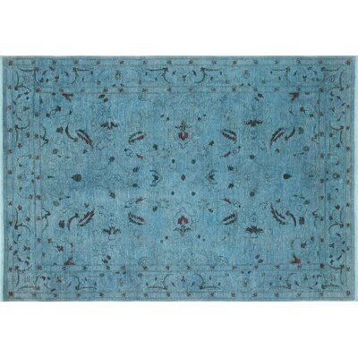 Overdyed Qahhar Hand-Knotted Light Blue Area Rug