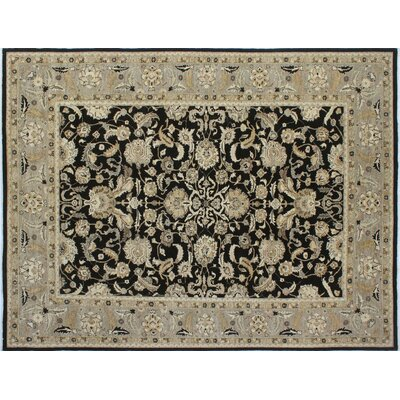 Leann Hand-Knotted Black Indoor Area Rug