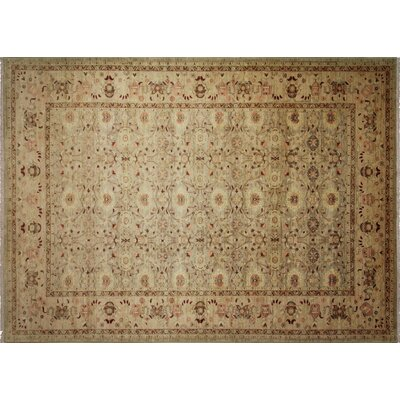 One-of-a-Kind Leann Hand-Knotted Rectangle Green/Gray Area Rug