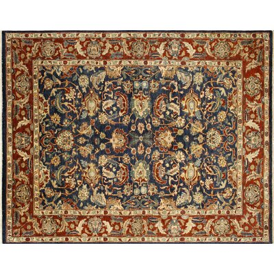 Leann Hand-Knotted Classic Floral Blue Area Rug