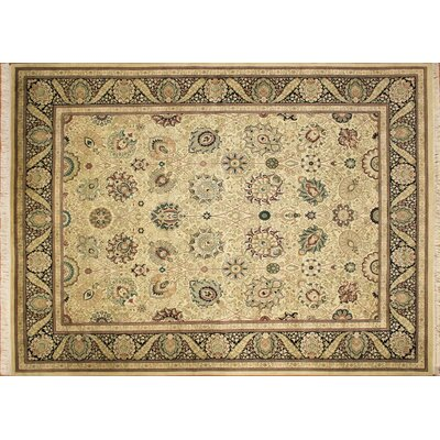 Pak-Persian Kenton Hand Knotted Wool Ivory Area Rug Rug Size: Rectangle 82 x 108