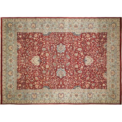 Pak-Persian Kashan Hand-Knotted Red Area Rug