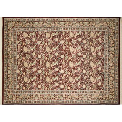 Pak-Persian Riley Hand Knotted Wool Red Area Rug Rug Size: Rectangle 91 x 122