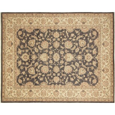 Leann Hand-Knotted Rectangle Charcoal Area Rug