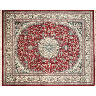 Pak-Persian Isphan Hand Knotted Wool Red Area Rug Rug Size: Rectangle 82 x 103