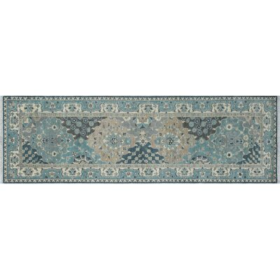 Leann Hand-Knotted Runner Gray Wool Indoor Area Rug