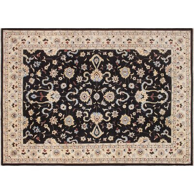 One-of-a-Kind Leann Hand-Knotted Rectangle Black Area Rug