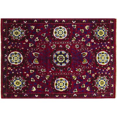 Sari Silk Fine Taraneh Hand-Knotted Red Area Rug