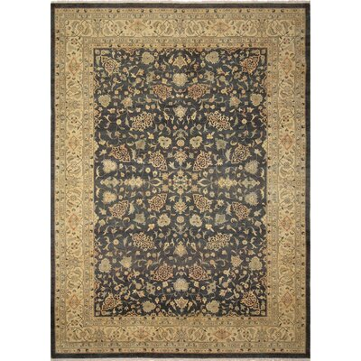 One-of-a-Kind Leann Hand-Knotted Rectangle Green Area Rug