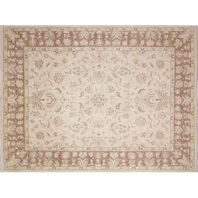 One-of-a-Kind Leann Hand-Knotted Beige Wool Indoor Area Rug