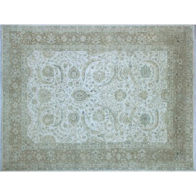 Leann Hand-Knotted Rectangle Ivory Indoor Area Rug