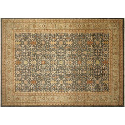 Leann Hand-Knotted Green/Beige Indoor Area Rug