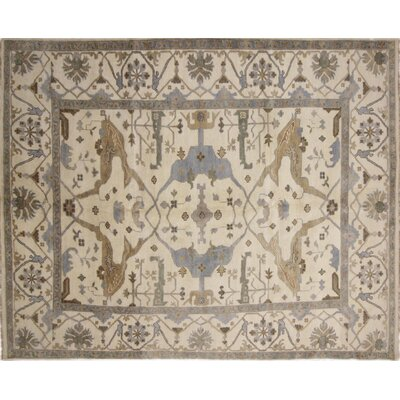 Bellview Hand-Knotted Oriental Rectangle Wool Ivory Area Rug